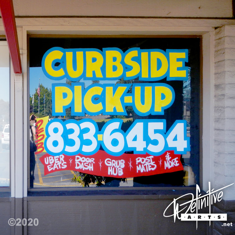 COVID Business Services, Window Splash, Window Painting, Window Art, Window Display, Window Lettering, Curbside Pickup, Delivery