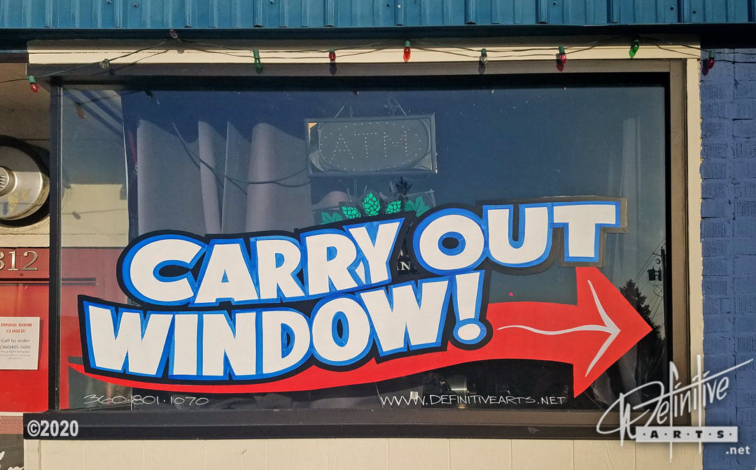 COVID Business Related Window Splash Advertising, directing customers to their Side Carry Out Window. Window Splash, Window Painting, Window Advertising, Window Display, Small Business, Shop Local, COVID